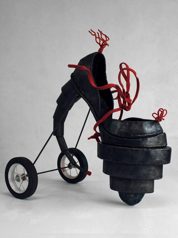 "Fetish Shoe with Training Wheels, steel and flocking, 2'3"", 2'1"" x 10"", 2008"