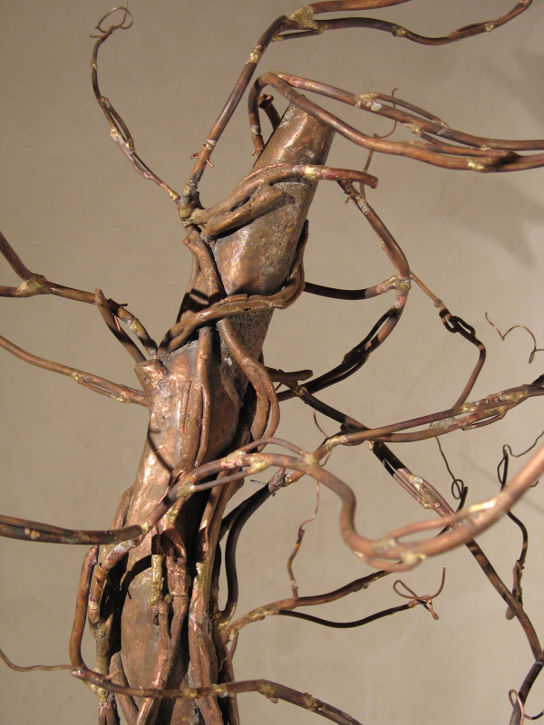 "detail, Falling Up: Meditation on Impermanence, 9'9"" x 6' x 6' copper, monastery fabric, 2006"