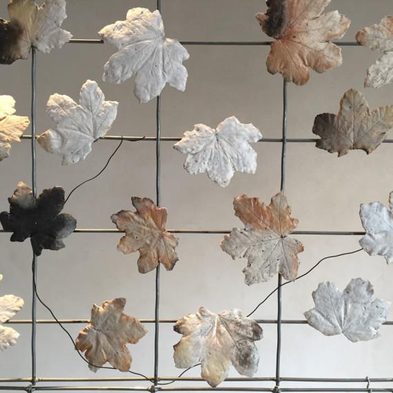 "detail, Up is East, porcelain, steel, magnets, 9' 5'7"" x 2"", 2015"