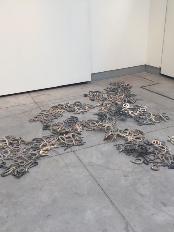 """Love's Story, clay, electric wire, dimensions variable, approximately 5"""" x 8' x 8', 2015"""