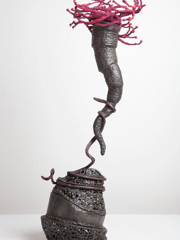 "Twister: Leashed, steel, flock, 2'9"" x 8"" x 1'4"", 2011"