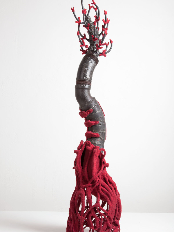 """Root Bound, Corseted and Pruned, steel, flock, hinges, hasps, wing nuts, 3' x 8"""" x 8"""", 2011"""