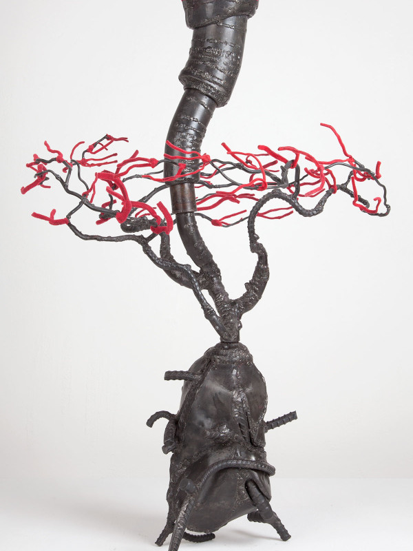"""Cottonwood Root with Current, steel, flock, 2'6"""" x 1'9"""" x 1'8"""", 2011"""