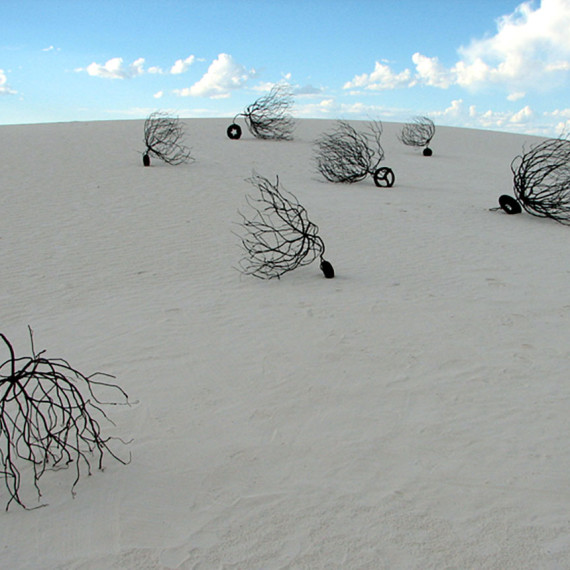Tumbleweeds on Unicycles, steel, iron, seven units ranging from 2' - 5', 2005