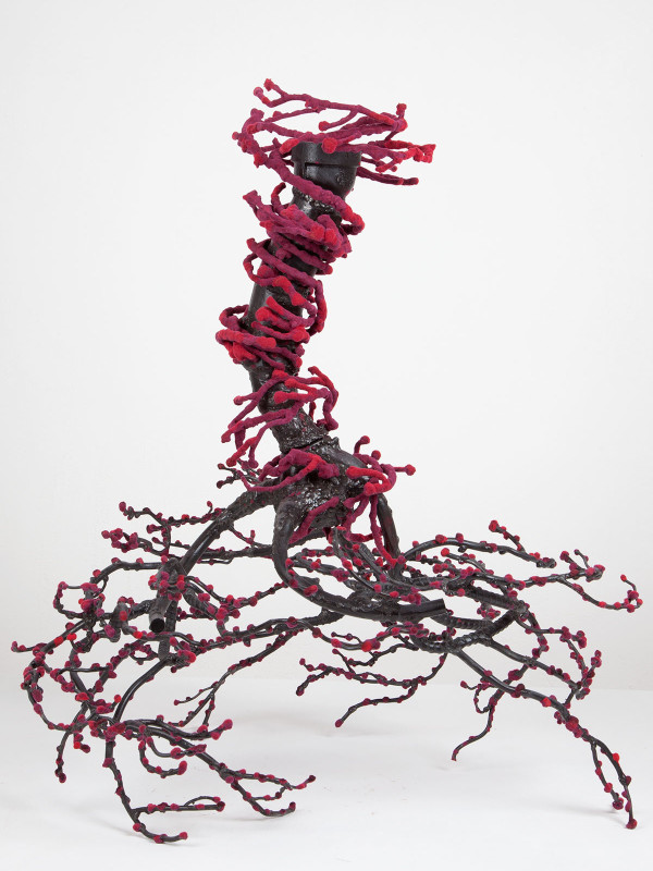 """Twister: Blossoming Mulberry, steel, flock, 2' x 1'9"""" x 1'8"""", 2011"""