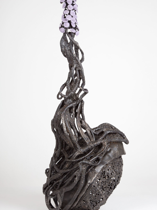 """Root Over Rock with Plume, steel, flock, washers, 2'7"""" x 10"""" x 11"""", 2011"""