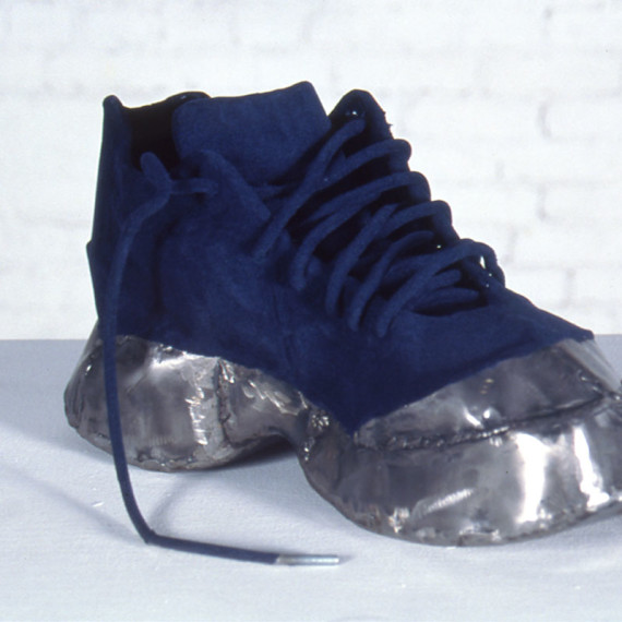 """Steel Toed Blue Suede Shoe, steel and flocking, 1'1"""" x 1'6"""" x 10"""", 2002"""
