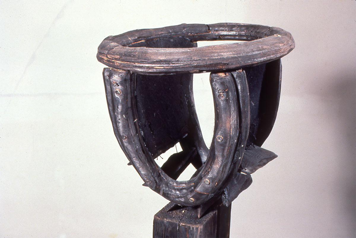 "detail, Vented Panty, charred plywood, steel, felt, 4'6"" x 1'6"" x 1', 1990"