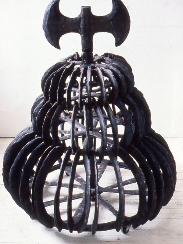 "Tiered Skirt, charred plywood, steel, 4'4"" x 3'6"" x 3'6"", 1991"