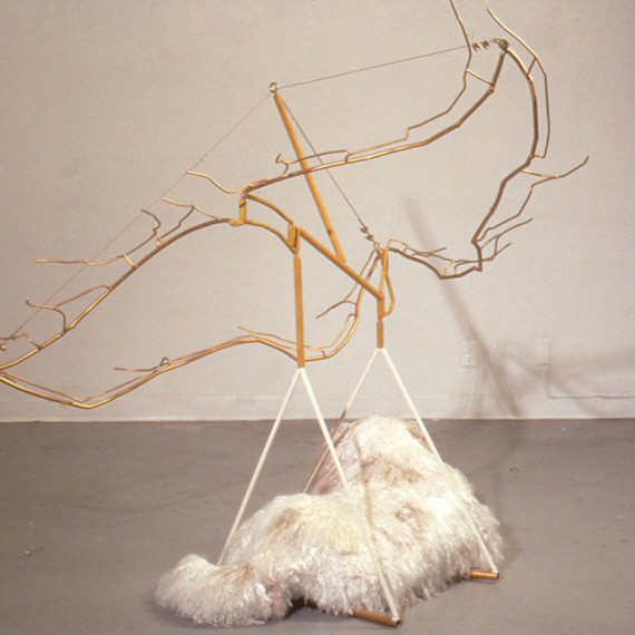 """Daffaney as an Angel, unraveled rope, steel, flocking, , 6' x 5'8"""" x 6'6"""", 1996"""