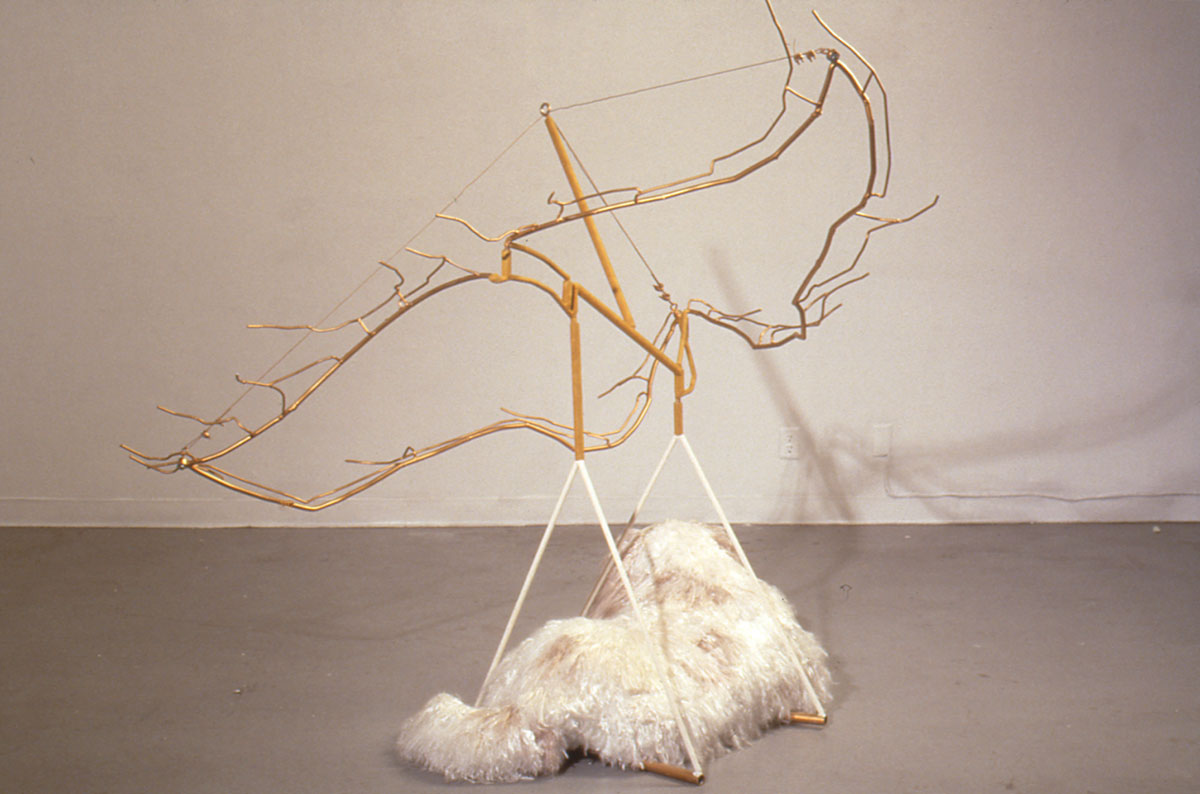 "Daffaney as an Angel, unraveled rope, steel, flocking, , 6' x 5'8"" x 6'6"", 1996"