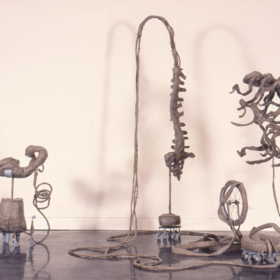 Sternum Flees Spine, steel and cloth, 7' x 9' x 7', 1994