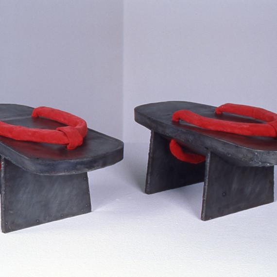 """Geta, steel, flocking, 8"""" x 1'4"""" x 1'6"""", 2003"""