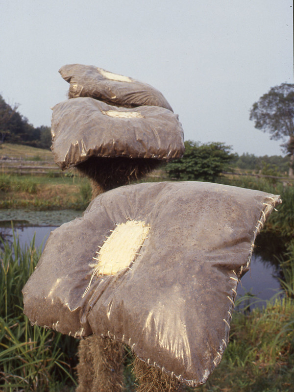 detail, Twelve Sherpas and Their Earth Pillows, plastic, earth, plastic, sponges, units range 1.5' to 6.5' in height, 1984