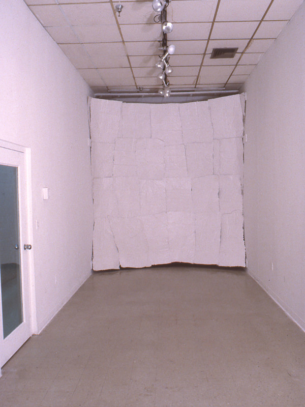 "Assimilate: Paper, Thin, White, plaster, cheesecloth, 2 walls, averaging 10' 10' x .5"", 1984"