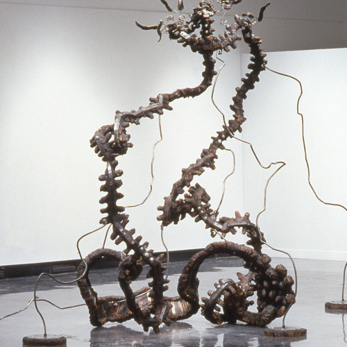 "Lyre, Lyre (View of Lyre I), charred plywood, steel, 9'3"" x 11' x 6'4"", 1995"