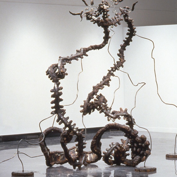 """Lyre, Lyre (View of Lyre I), charred plywood, steel, 9'3"""" x 11' x 6'4"""", 1995"""