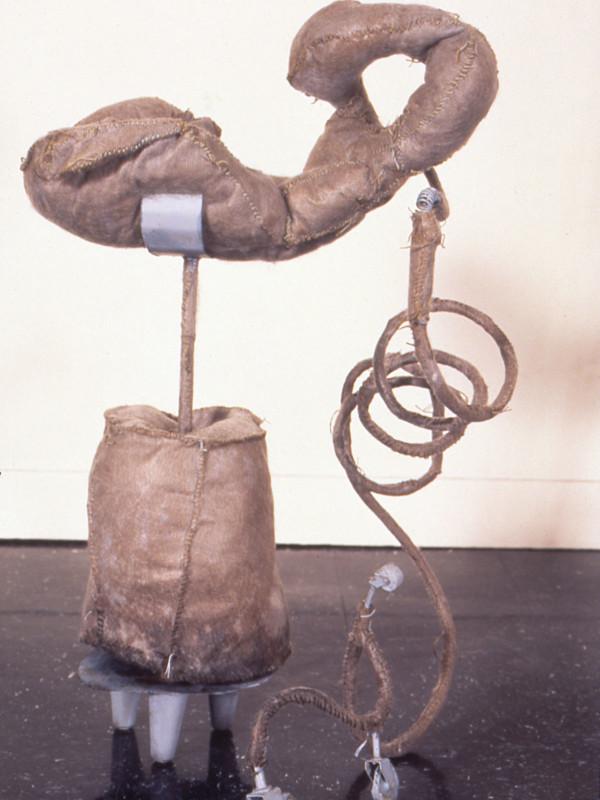 detail, Sternum Flees Spine, steel and cloth, 7' x 9' x 7', 1994