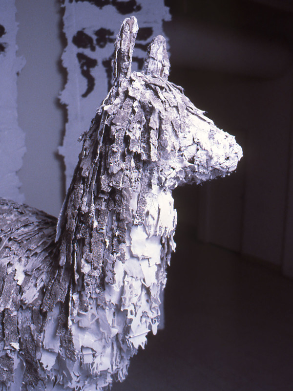 "detail, Lllama with 5 Paths, steel, plaster, dirt, 10' x 12' x 6'6"", 1985"