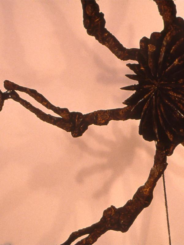"detail, Self Portrait as an Exhaust Fan, charred plywood, steel, motor, rope, 9'3"" x 8' x 4', 1991"