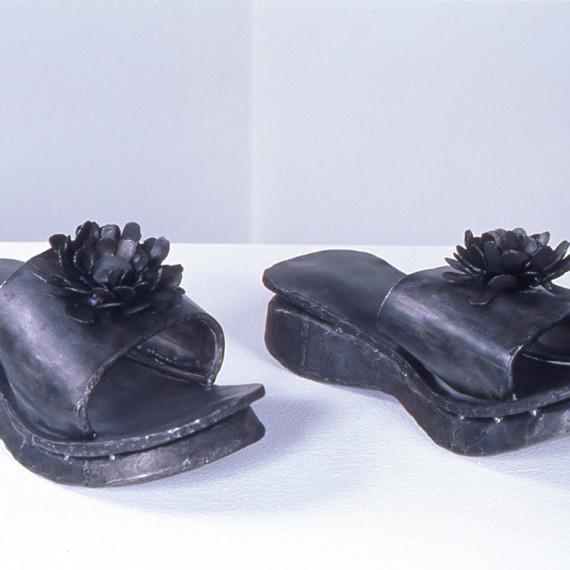 """Foam Flip Flops with Flower, steel, 7"""" x 1'4"""" x 1'6"""", 2003"""