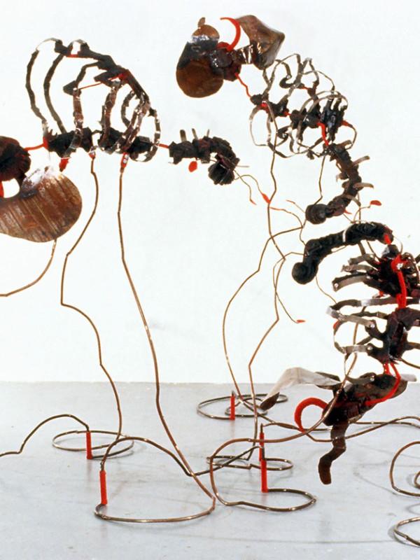 "Cello Trio, steel, charred plywood, flocking, 7'2"" x 10' x 9', 1997-98"