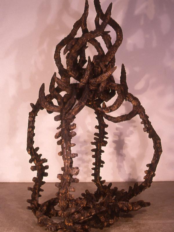 """The Burning Bush, charred plywood, steel, 6'8"""" x 3' x 3'3"""", 1992"""