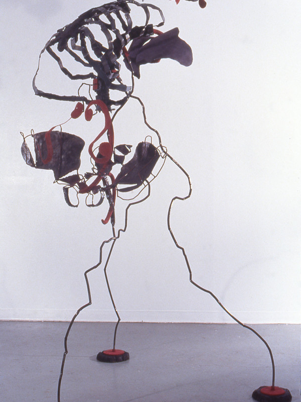 "Cello (Ascending), steel, charred plywood, flocking, 8'2"" x 4'10"" x 4'2"", 1997"