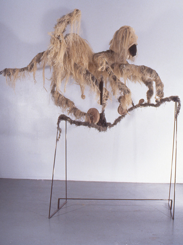 "Eight-Legged Afghan Hound Tight Rope Walking, steel, foam, fiber, flocking, 7'3"" x 7'7"" x 4'5"", 1997"