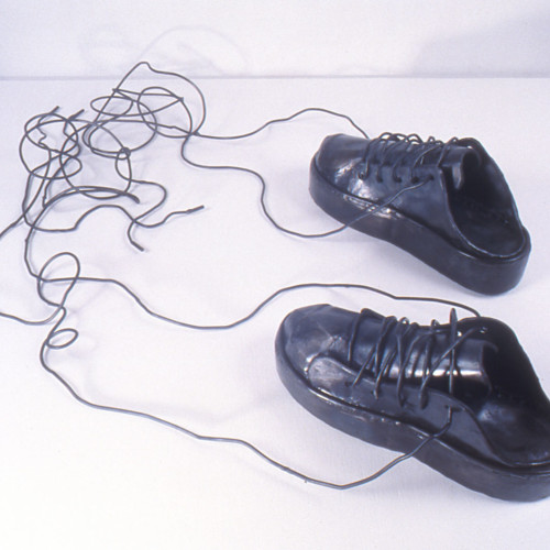 "Sneakers with Tangled Laces, steel, 7"" x 3'6"" x 2'4"", 2004"