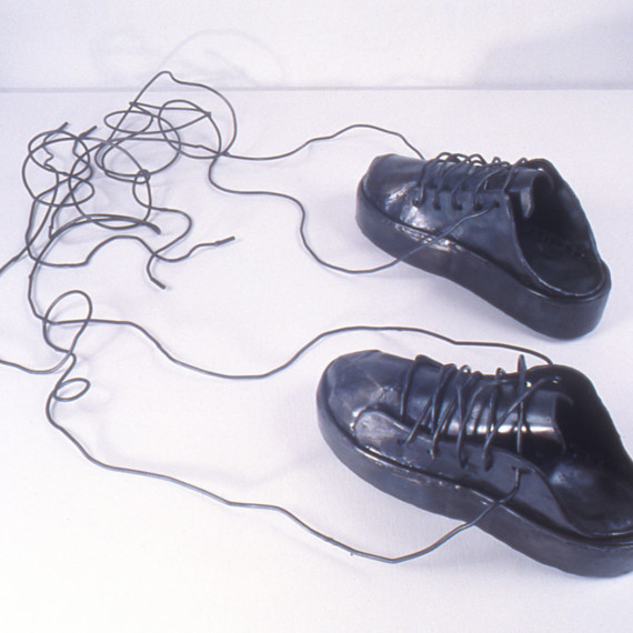 """Sneakers with Tangled Laces, steel, 7"""" x 3'6"""" x 2'4"""", 2004"""