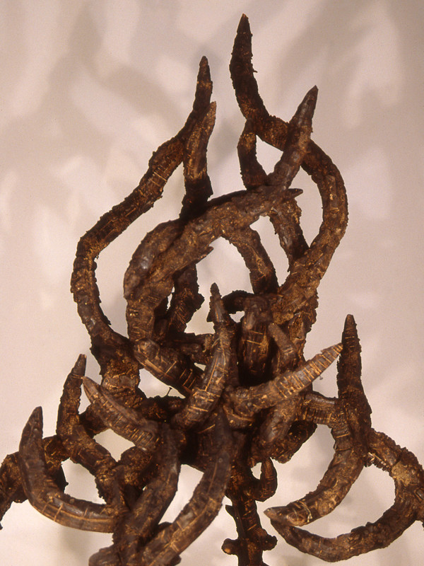 "detail, The Burning Bush, charred plywood, steel, 6'8"" x 3' x 3'3"", 1992"