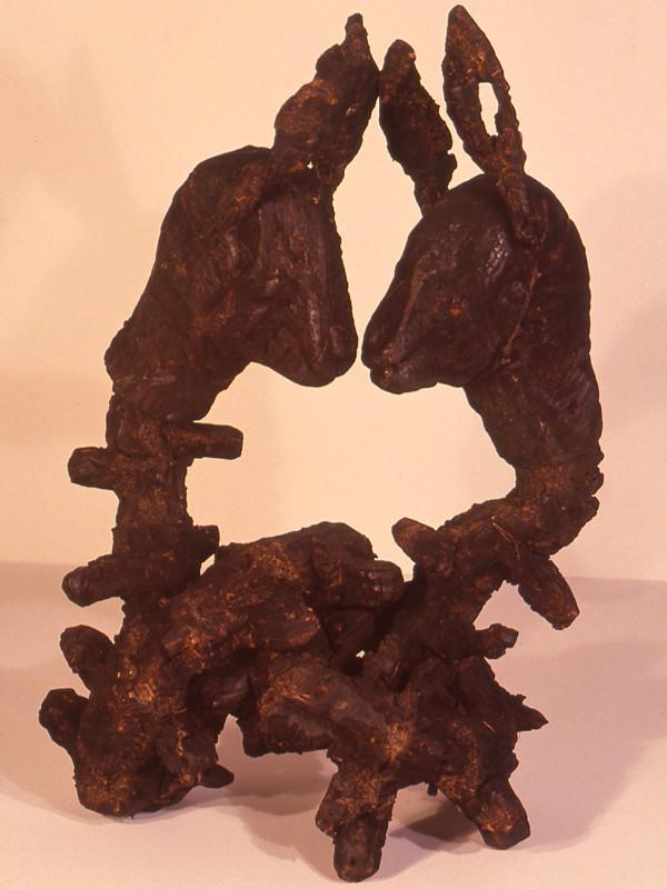 """A Small Sacrifice, charred plywood, steel, 27"""" x 27"""" x 12"""", 1992"""