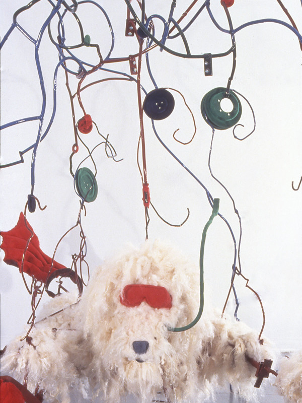 detail, Standard Poodle Simulating Snorkeling, steel, foam, paint, wool, flocking, 6'7