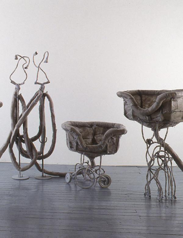"An Ecstasy of Sinks, steel, synthetic felt, wheels, flocking, 5'4"" x 9'6"" x 6'1"", 1994"