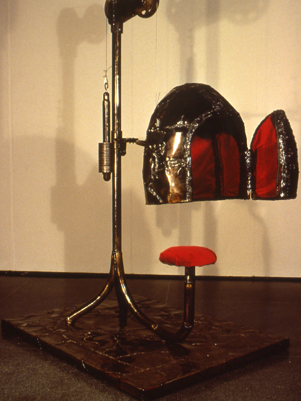 "Empress, steel, charred plywood, velvet, 7'6"" x 4' x 5'1"", 1994"